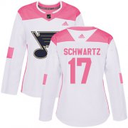 Wholesale Cheap Adidas Blues #17 Jaden Schwartz White/Pink Authentic Fashion Women's Stitched NHL Jersey