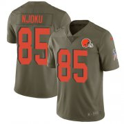 Wholesale Cheap Nike Browns #85 David Njoku Olive Youth Stitched NFL Limited 2017 Salute to Service Jersey