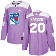 Wholesale Cheap Adidas Rangers #20 Chris Kreider Purple Authentic Fights Cancer Stitched Youth NHL Jersey