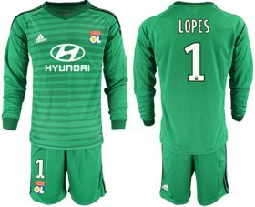 Wholesale Cheap Lyon #1 Lopes Green Goalkeeper Long Sleeves Soccer Club Jersey