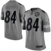 Wholesale Nike Steelers #84 Antonio Brown Gray Men's Stitched NFL Limited Gridiron Gray Jersey