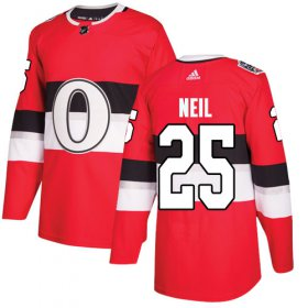 Wholesale Cheap Adidas Senators #25 Chris Neil Red Authentic 2017 100 Classic Stitched Youth NHL Jersey