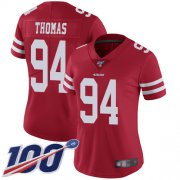Wholesale Cheap Nike 49ers #94 Solomon Thomas Red Team Color Women's Stitched NFL 100th Season Vapor Limited Jersey