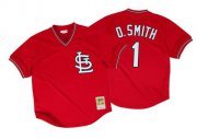 Wholesale Cheap Mitchell And Ness 1996 Cardinals #1 Ozzie Smith Red Stitched MLB Jersey