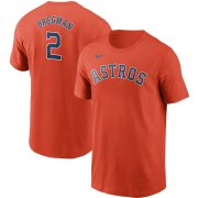Wholesale Cheap Houston Astros #2 Alex Bregman Nike Name & Number T-Shirt Orange