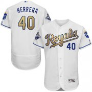 Wholesale Cheap Royals #40 Kelvin Herrera White 2015 World Series Champions Gold Program FlexBase Authentic Stitched MLB Jersey