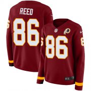 Wholesale Cheap Nike Redskins #86 Jordan Reed Burgundy Red Team Color Women's Stitched NFL Limited Therma Long Sleeve Jersey