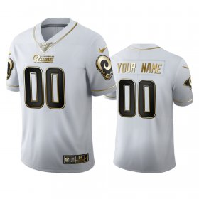 Wholesale Cheap Los Angeles Rams Custom Men\'s Nike White Golden Edition Vapor Limited NFL 100 Jersey