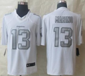 Wholesale Nike Dolphins #13 Dan Marino White Men\'s Stitched NFL Limited Platinum Jersey