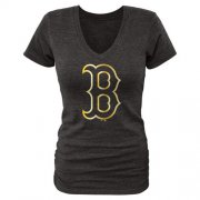 Wholesale Cheap Women's Boston Red Sox Fanatics Apparel Gold Collection V-Neck Tri-Blend T-Shirt Black