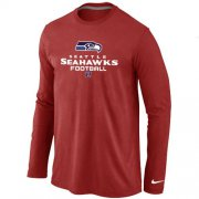 Wholesale Cheap Nike Seattle Seahawks Critical Victory Long Sleeve T-Shirt Red