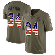 Wholesale Cheap Nike Bears #34 Walter Payton Olive/USA Flag Men's Stitched NFL Limited 2017 Salute To Service Jersey