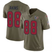 Wholesale Cheap Nike Texans #88 Jordan Akins Olive Youth Stitched NFL Limited 2017 Salute To Service Jersey