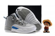 Wholesale Cheap Kids' Air Jordan 12 Shoes Wolf gray/white-blue