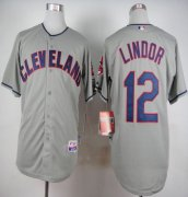 Wholesale Cheap Indians #12 Francisco Lindor Grey Cool Base Stitched MLB Jersey