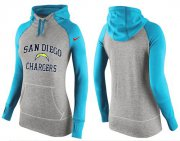 Wholesale Cheap Women's Nike Los Angeles Chargers Performance Hoodie Grey & Light Blue