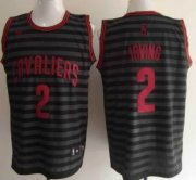 Wholesale Cheap Cleveland Cavaliers #2 Kyrie Irving Gray With Black Pinstripe Jersey