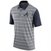 Wholesale Cheap Men's Atlanta Braves Nike Gray Dri-FIT Stripe Polo