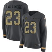 Wholesale Cheap Nike Saints #23 Marshon Lattimore Anthracite Salute to Service Women's Stitched NFL Limited Therma Long Sleeve Jersey
