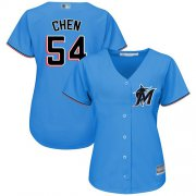 Wholesale Cheap Marlins #54 Wei-Yin Chen Blue Alternate Women's Stitched MLB Jersey