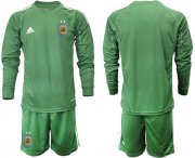 Wholesale Cheap Argentina Blank Army Green Long Sleeves Goalkeeper Soccer Country Jersey