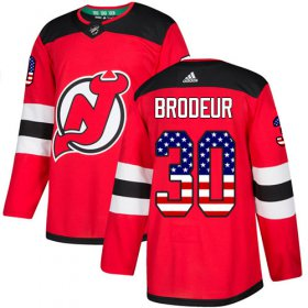 Wholesale Cheap Adidas Devils #30 Martin Brodeur Red Home Authentic USA Flag Stitched Youth NHL Jersey