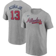 Wholesale Cheap Atlanta Braves #13 Ronald Acuna Jr. Nike Name & Number T-Shirt Gray