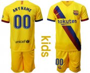 Wholesale Barcelona Personalized Away Long Sleeves Kid Soccer Club Jersey