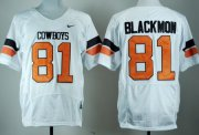 Wholesale Cheap Oklahoma State Cowboys #81 Justin Blackmon White Pro Combat Jersey