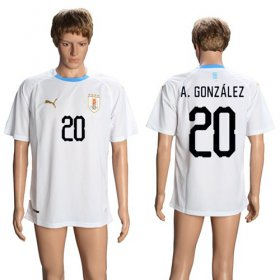 Wholesale Cheap Uruguay #20 A.Gonzalez Away Soccer Country Jersey