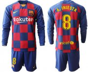Wholesale Cheap Barcelona #8 A.Iniesta Home Long Sleeves Soccer Club Jersey