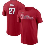 Wholesale Cheap Philadelphia Phillies #27 Aaron Nola Nike Name & Number T-Shirt Red