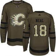Wholesale Cheap Adidas Flames #18 James Neal Green Salute to Service Stitched Youth NHL Jersey