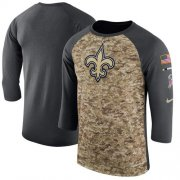Wholesale Cheap Men's New Orleans Saints Nike Camo Anthracite Salute to Service Sideline Legend Performance Three-Quarter Sleeve T-Shirt