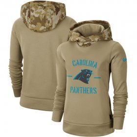 Wholesale Cheap Women\'s Carolina Panthers Nike Khaki 2019 Salute to Service Therma Pullover Hoodie