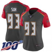 Wholesale Cheap Nike Buccaneers #93 Ndamukong Suh Gray Women's Stitched NFL Limited Inverted Legend 100th Season Jersey
