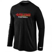 Wholesale Cheap Nike San Francisco 49ers Authentic Font Long Sleeve T-Shirt Black