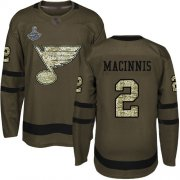 Wholesale Cheap Adidas Blues #2 Al MacInnis Green Salute to Service Stanley Cup Champions Stitched NHL Jersey