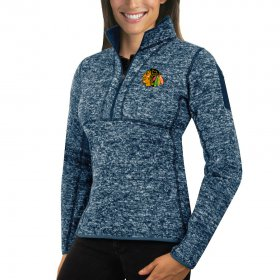 Wholesale Cheap Chicago Blackhawks Antigua Women\'s Fortune 1/2-Zip Pullover Sweater Royal