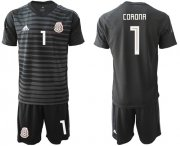 Wholesale Cheap Mexico #1 Corona Black Goalkeeper Soccer Country Jersey