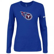 Wholesale Cheap Women's Nike Tennessee Titans Of The City Long Sleeve Tri-Blend NFL T-Shirt Blue