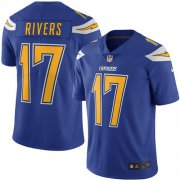 Wholesale Cheap Nike Chargers #17 Philip Rivers Electric Blue Men's Stitched NFL Limited Rush Jersey
