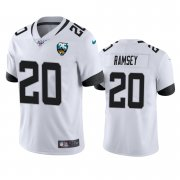 Wholesale Cheap Nike Jaguars #20 Jalen Ramsey White 25th Anniversary Vapor Limited Stitched NFL 100th Season Jersey