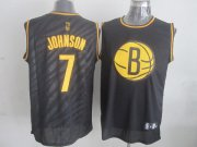 Wholesale Cheap Brooklyn Nets #7 Joe Johnson Revolution 30 Swingman 2014 Black With Gold Jersey