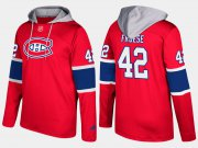 Wholesale Cheap Canadiens #42 Byron Froese Red Name And Number Hoodie