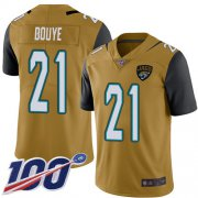 Wholesale Cheap Nike Jaguars #21 A.J. Bouye Gold Men's Stitched NFL Limited Rush 100th Season Jersey