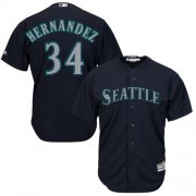 Wholesale Cheap Mariners #34 Felix Hernandez Navy Blue Alternate Women's Stitched MLB Jersey