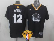 Wholesale Cheap Men's Golden State Warriors #12 Andrew Bogut Black Short-Sleeved 2017 The NBA Finals Patch Jersey