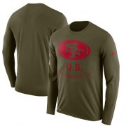 Wholesale Cheap Men's San Francisco 49ers Nike Olive Salute to Service Sideline Legend Performance Long Sleeve T-Shirt