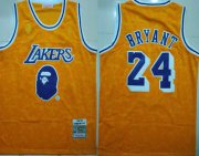 Wholesale Cheap Lakers Bape 24 Kobe Bryant Yellow 1997-98 Hardwood Classics Jersey